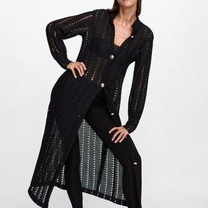 Zara Women's Lace Sweater Dress Long Black Crochet